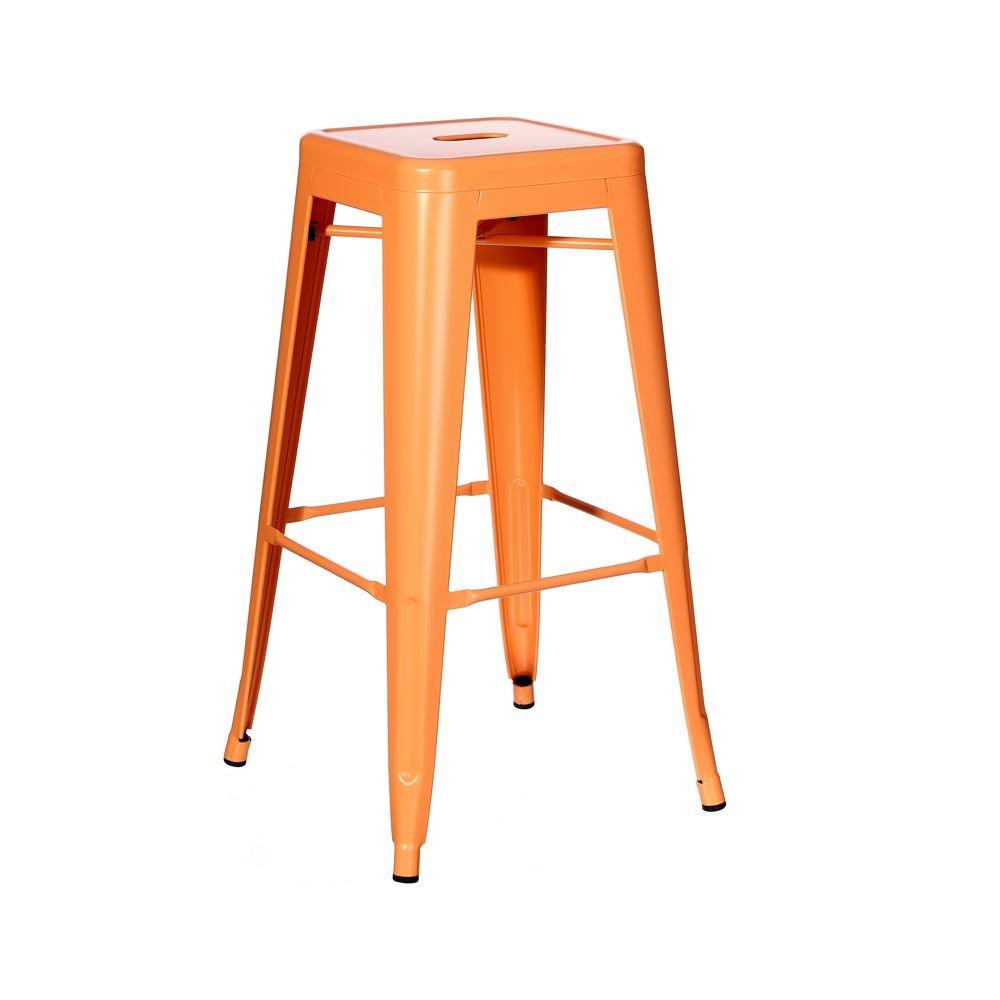 Taburete estilo tolix naranja 61cm mobiliari contract for Taburete estilo industrial