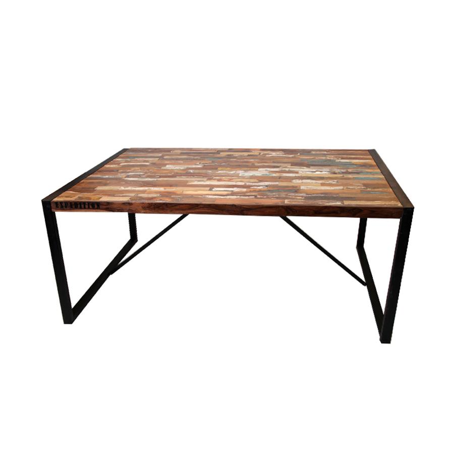 Mesa comedor vintage arcobaleno hierro madera for Mesa vintage madera