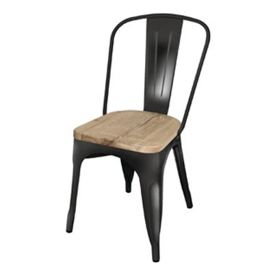 Silla estilo tolix asiento madera mobiliari contract - Silla tolix ...